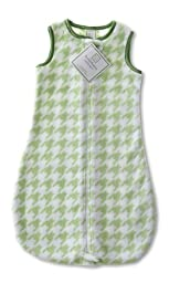 SwaddleDesigns zzZipMe Sack with 2-Way Zipper, Cozy Microplush Wearable Blanket, Puppytooth, Pure Green 3- 6 Months