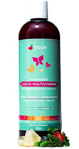 Yuve Vegan Liquid Daily Multivitamin - Vitamins A B C D3 E, Zinc, Biotin, Opti MSM, Minerals & Amino Acids Complex (BCAA) - Natural, Non-GMO, Paleo, Sugar & Gluten Free - Cherry & Cranberry - 16oz (Liquid Multivitamins)