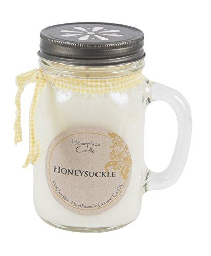 16 oz. - Honeysuckle - LG Mason Jar Mug - 100% Soy Candle