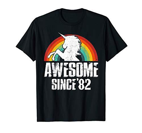 Unicorn Awesome Since 1982 37th Birthday TShirt Decoration