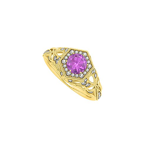 Pretty Gift Amethyst and CZ Filigree Ring 1.50 TGW
