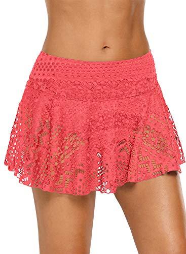 REKITA Womens Swim Skirt Lace Crochet Skort Bikini Bottom (M, - Bottom Bikini Crochet