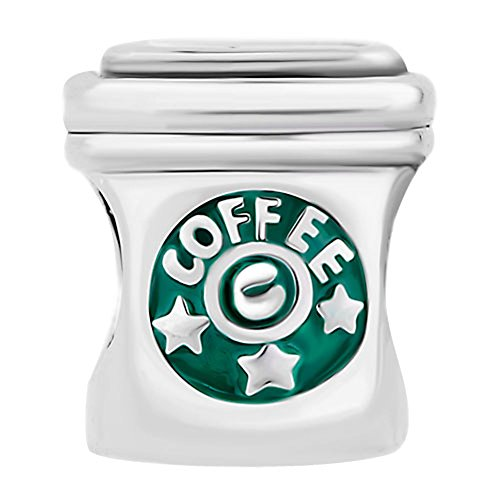 European Charm Bead Coffee Cup White with Green Stars Silver Pugster Fits Pandora Hard to ()