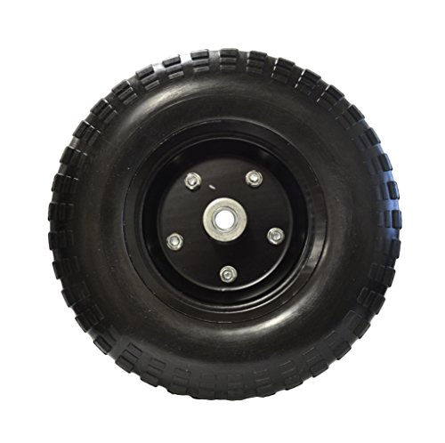 13'' Flat Free Hand Truck Tire and Wheel with 5/8'' Center Shaft Hole (Black) by EZ Travel Collection