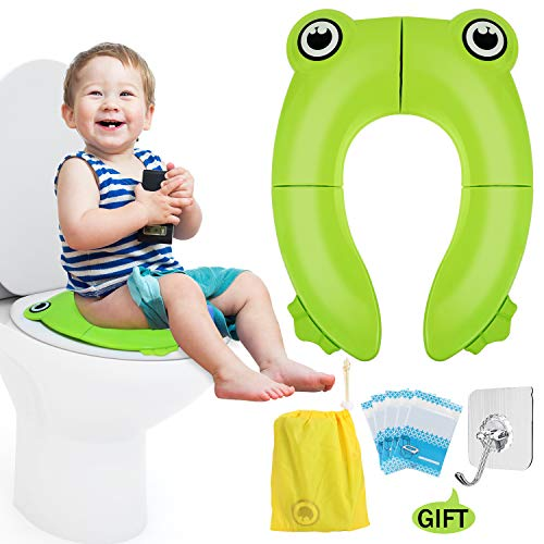 (Portable Travel Potty Seat, Upgrade Folding Large Non Slip Silicone Pads Travel Reusable Toilet Potty Training Seat Covers Liners for Babies, Toddlers and Kids - Carry Bag & Hook Included (Green))