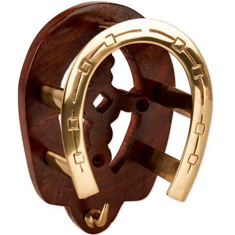 Tack Shack Of Ocala Wood with Brass Horseshoe Bridle Bracket