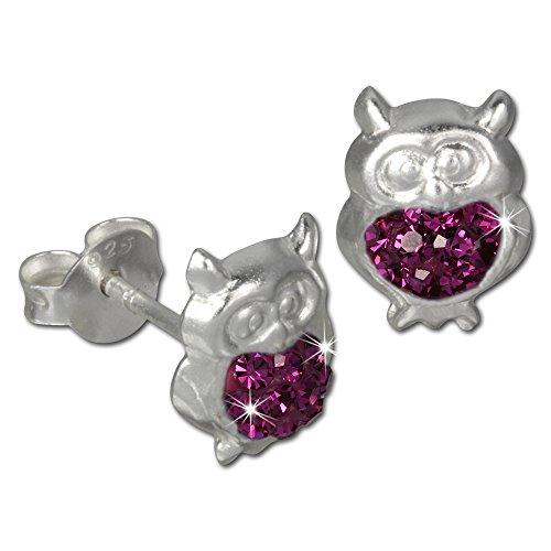 Tee-wee boucles d'oreilles chouette pour enfant en argent sterling 925 avec zircones fuchsia paillettes sDO8009P bijoux boucles