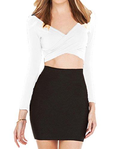 Haola Women's Long Sleeve Crop Tops Deep V Neck Top Tees Short T-shirts M White