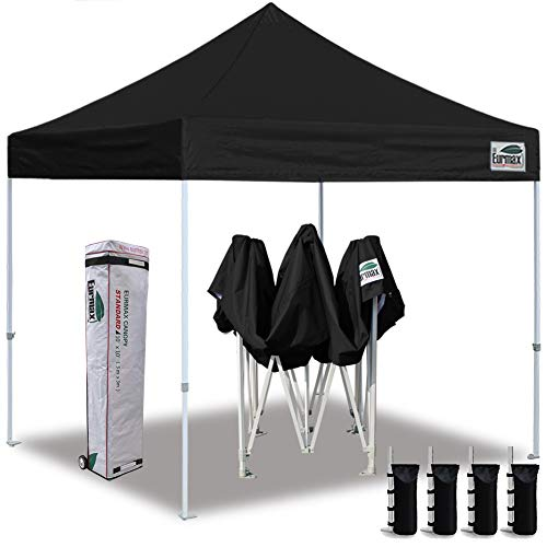 Eurmax 10 x10 Ez Pop Up Canopy Tent Commercial Instant Canopies with Heavy Duty Roller Bag,Bonus 4 Sand Weights Bags Black