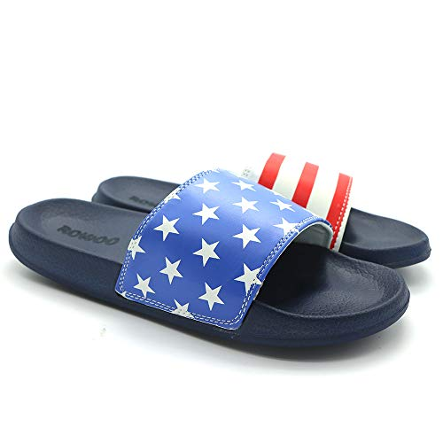 - ROWOO Men's Lightweight Flat Stripe and Star Slide Sandals (43 EU / 10 US, Blue)