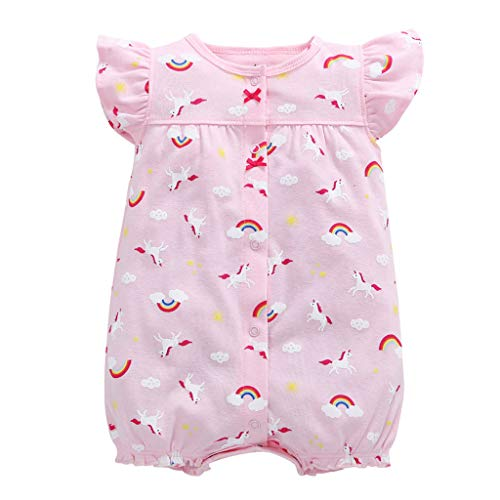 NUWFOR Baby Infant Girl Boy One-Pieces Cartoon Striped Printed Romper Bodysuit Clothes(Pink,9-12Months)