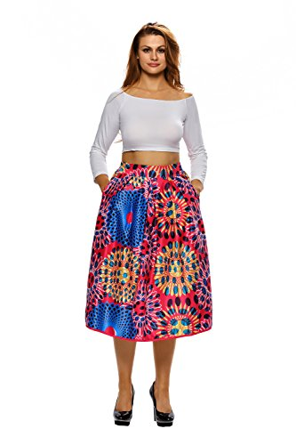 LikeYOU Vintage High Waist Africa Print A-lined Midi Skirt M (Fish Net Arm Sleeves)