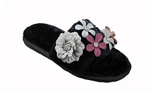 Beauqueen Lovely automne et hiver belle fleurs strass garder chaude chaussures en peluche maison de la femme , 39-40