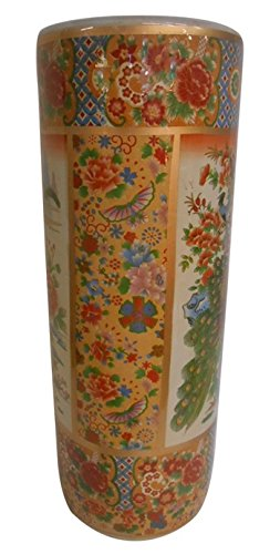 22'' H Satsuma Porcelain Umbrella Stand Painted Peacock by Oriental Furnishings