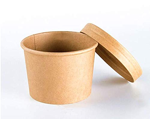 Cup Including Lid - INNO 12 Biodegradable Container-Kraft Paper Cup for Ice-cream/Soup/Food-Eco-Friendly To Go/Take Out Paper Cups With Lids-30 pack Including Lids (12oz)