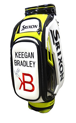 NEW Keegan Bradley Autographed Srixon White/Lime Tour Leather Staff Golf (Srixon Tour Bag)