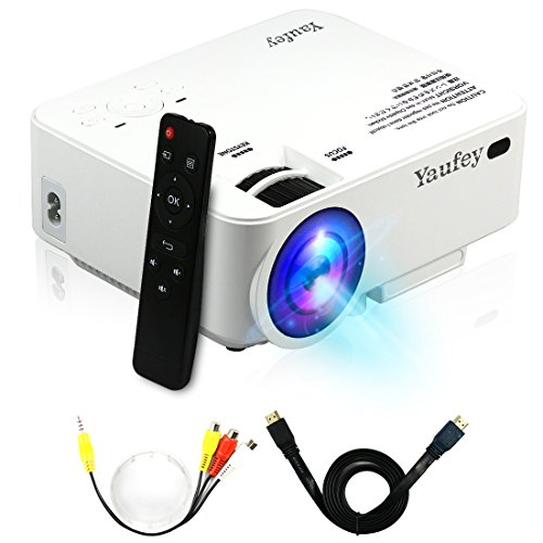 1500 Lumens LCD Mini Projector, Multimedia Home Theater Video Projector Support 1080P HDMI USB SD Card VGA AV for Home Cinema TV Laptop Game iPhone Andriod Smartphone with Free HDMI Cable(White)