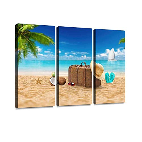 YKing1 Travel Holiday Vacation Suitcase with Sunglasses Advertisement on Wall Art Painting Pictures Print On Canvas Stretched & Framed Artworks Modern Hanging Posters Home Decor ()