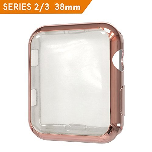 HONEST KIN Compatible Apple Watch Case 38mm Series 3, Soft TPU Plated Screen Protector Case Slim All-Around Protective Bumper Cover Case for iWatch 38 mm Series 2/3 -Rose Gold