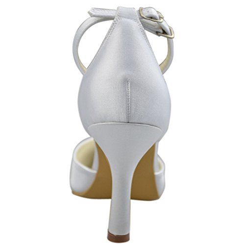 White Wedding Evening High Party 9cm Minishion Satin Bridal Heel Strappy Heel Shoes Womens Stiletto Y0037 pZzwqg7