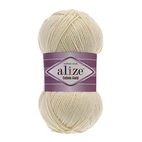 55% Cotton 45% Acrylic Yarn Alize Cotton Gold Thread Crochet Hand Knitting Art Lot of 4skn 400 gr 1444 yds Color 01 Cream