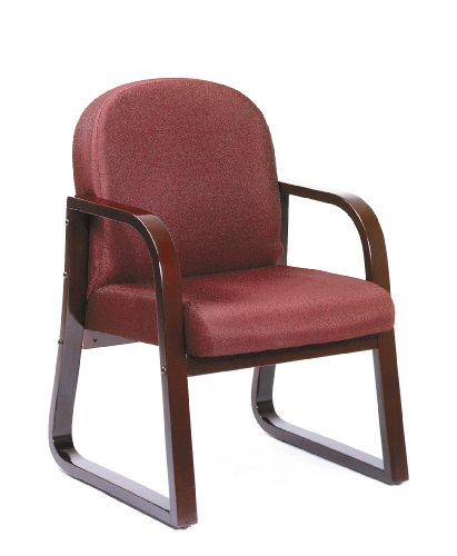 Boss Office Products B9570-BY Mahogany Frame Fabric Side Chair in Burgundy