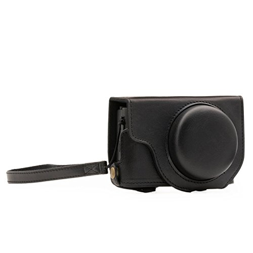 Megagear MG1132 Panasonic Lumix DMC-LX10 Ever Ready Leather Camera Case and Strap, with Battery Access, Black