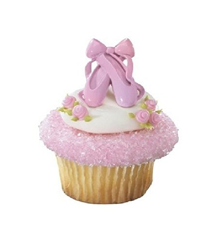 Dance Ballerina Ballet Slippers Pink (24) Cupcake Topper Favor Decor -