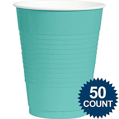 Robins Egg Blue Plastic 16oz. Cups (50 Pack) - Party Supplies