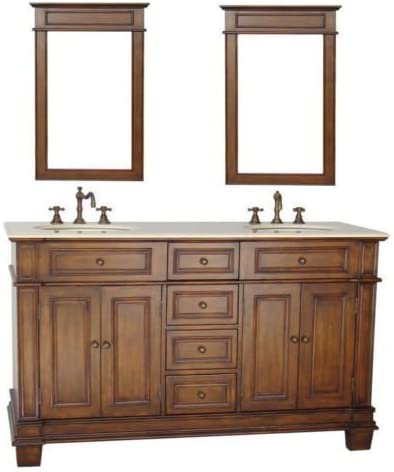 60 Benton Collection Sanford Double Sinks Bathroom Vanity w 2 Matching Mirrors CF-3048M-60