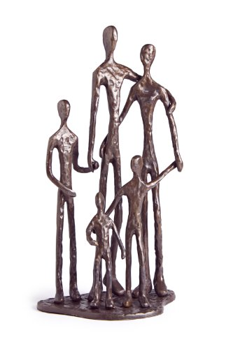 - Danya B. Home Shelf Décor (ZD11021) - Sand Casted Metal Art Bronze Sculpture Family of Five - Lined with Velveteen
