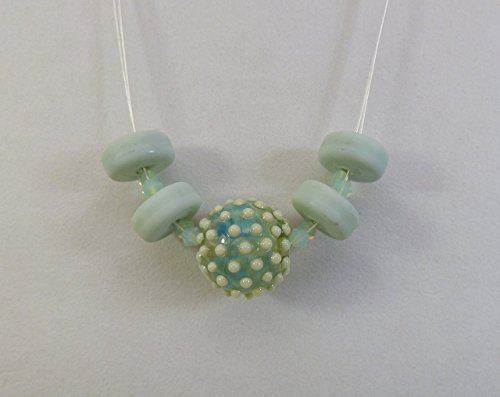Pastel Green Artisan Lampwork Bead ZigZag Necklace with Dotted Round Focal on Silverplate Wire and Swarovski - Bead Round Dotted