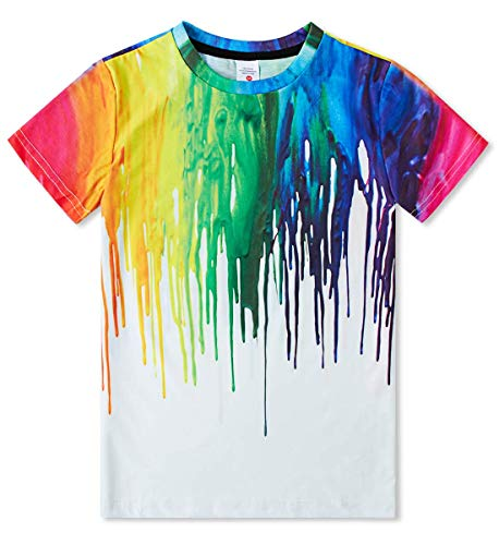 Boys' Girl Novelty Tee 3D Colorful Ink Printing Kids T Shirt Tops Loose Fit Graffiti Tees Shirts Short-Sleeve 14-16 Years