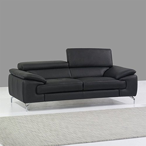 JM Furniture A973 Italian Leather Sofa in Black ()