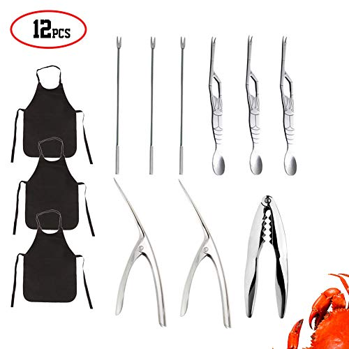 (Yarstar 12 pcs Seafood Tools Set including Shrimp Prawn Peeler Crab Crackers Lobster Sheller Fork Apron for Home,Party,Picnic,Dating)