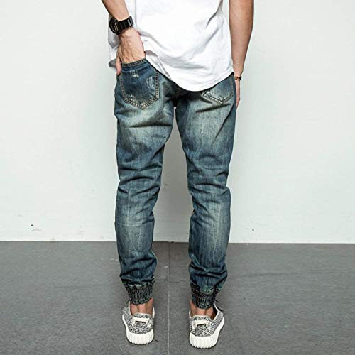 Abbigliamento Strappati Uomo Casual Da Moda Blau Vintage Denim Distrutti Jeans Elasticizzati Pantaloni pCwSqYHw