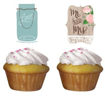 Rustic Wedding Cupcake Toppers 12 Per Pack by Creative Converting (Wedding Shower Cupcake Toppers compare prices)
