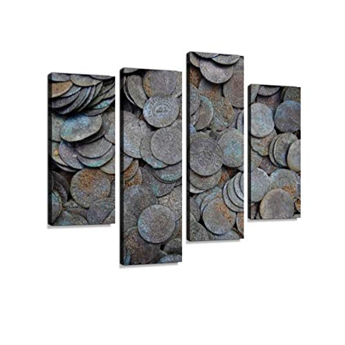 - Background of a Pile of Small Old Silver Coins in The Ground Canvas Wall Art Hanging Paintings Modern Artwork Abstract Picture Prints Home Decoration Gift Unique Designed Framed 4 Panel