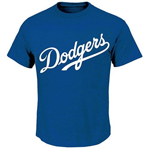 Mens Dodgers Cotton Crew Neck T-Shirt (Blue, L)