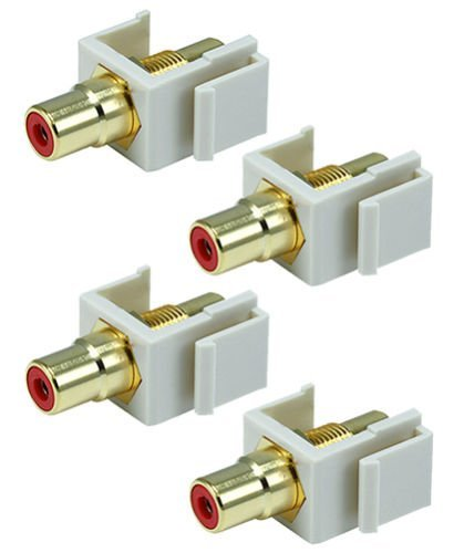 F YL 4x Red RCA Audio Video Gold Female Coupler Snap-in Keystone Jack Insert Ivory