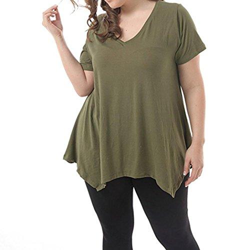 FEITONG Women's Plus Size Short Sleeve V-Neck Irregular Hem Loose Casual Flowy Tee T-Shirt Tunic Tops(XX-Large,Green) (Motorcycle Shirt Hawaiian)
