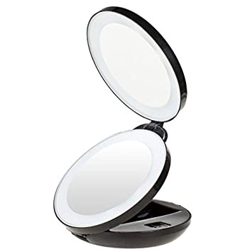 Kedsum 1x 10x Led Lighted Travel Makeup Mirror Double Sided Folding  Handheld Magnifying. Travel Lighted Makeup Mirror 10x   Iron Blog