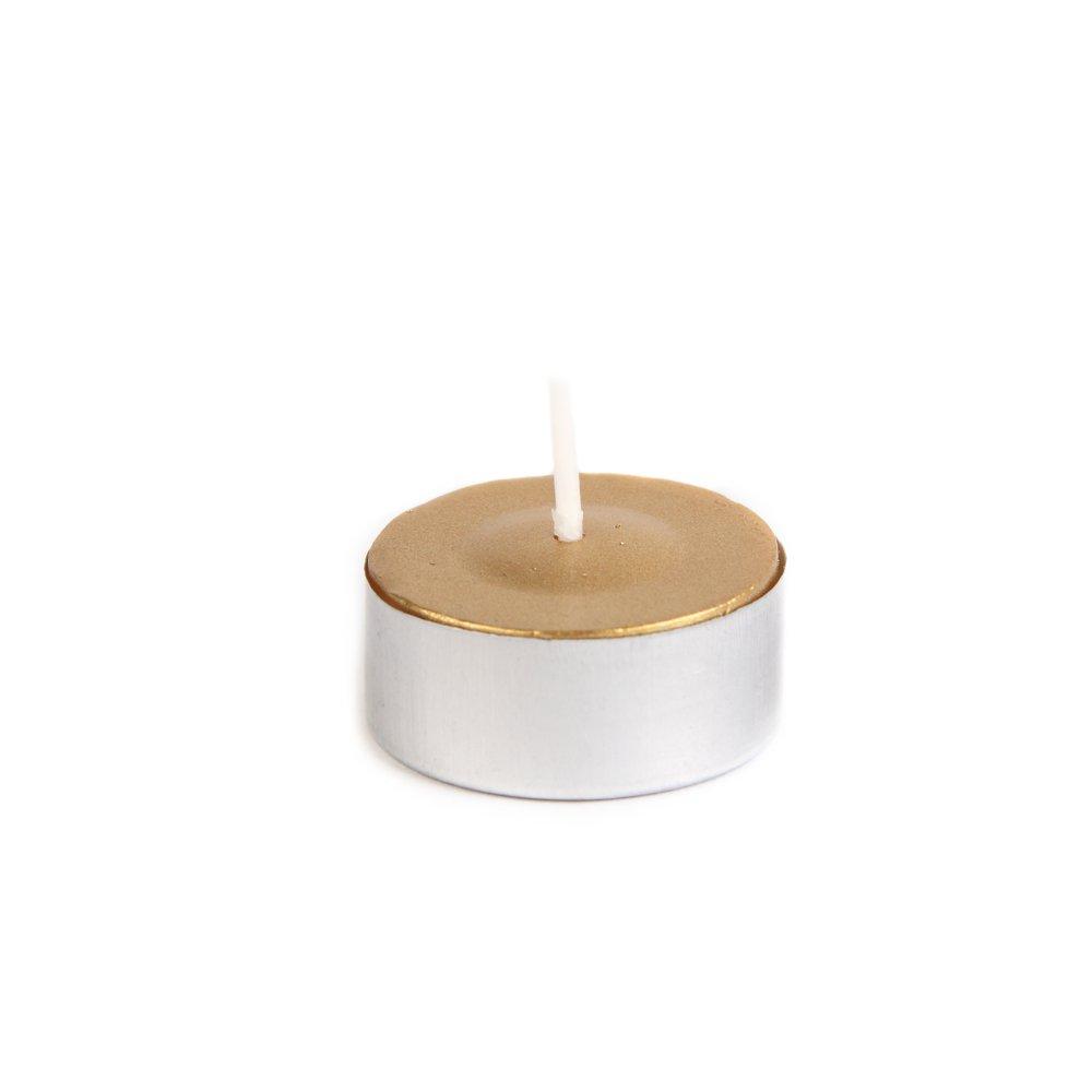 Zest Candle 50-Piece Tealight Candles, Metallic Gold