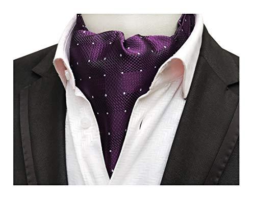 Men's Deep Purple Pin Dot Silk Cravat Ties Luxury Textured Patterned Ascot - Scarf Patterned Belt