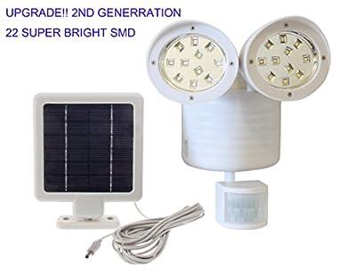 [2nd Generation] Solar Powered Motion Sensor Light 22 SMD Garage Outdoor Security Flood Spot Light - White