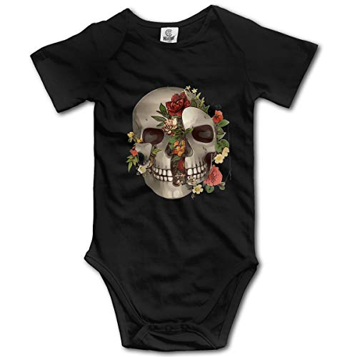 Sheridan ReynoldsSkull-Bones-Valentines-Biker-Tattoo-Floral Newborn Baby Boy Girl Clothes Short Sleeve Rompe Black