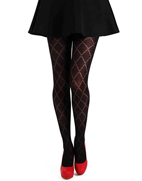 ca0ae188aae00 Pamela Mann Classic Opaque Diamond Tights -Black-One Size at Amazon Women's  Clothing store: