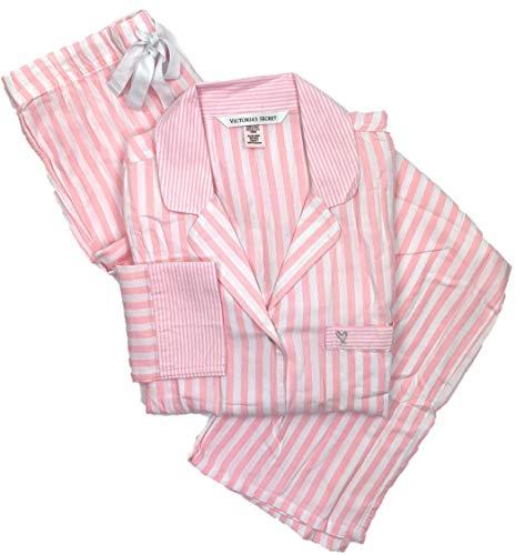 defaeecf73 Victoria s Secret Women s Lightweight Cotton Flannel Pajamas Pink White  Stripe Large-Long