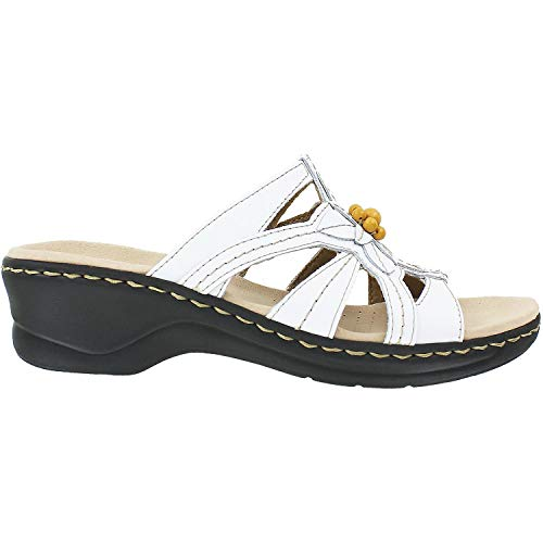 CLARKS Women's Lexi Myrtle Sandals, White Leather - 6.5 EW from CLARKS