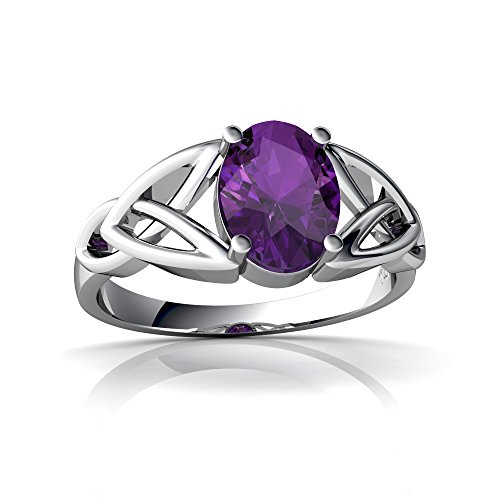 (14kt White Gold Amethyst 8x6mm Oval Celtic Trinity Knot Ring - Size 8)